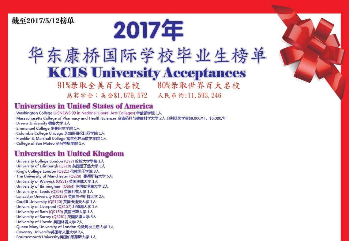 华东康桥国际学校2017毕业生大学录取榜单